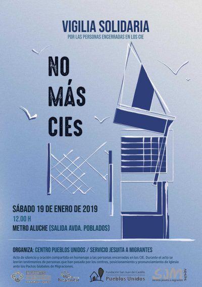 Cartel de la Vigilia Solidaria: no más cies. Sábado 19 de Enero, 12 horas, Metro Aluche