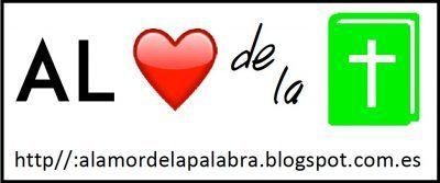 Logo tipo del Grupo AlAmordelaPalabra. Se compone de un corzaón y una Biblia.