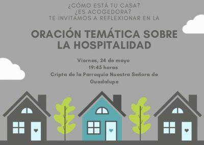 Cartel de la oración temática en torno a la Hospitalidad