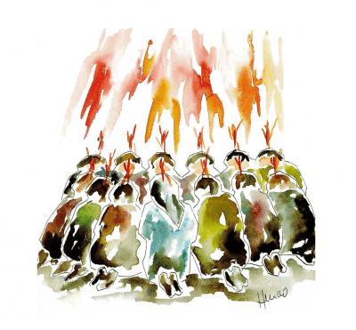 Discípulos reunidos con unas llamas sobre su cabeza