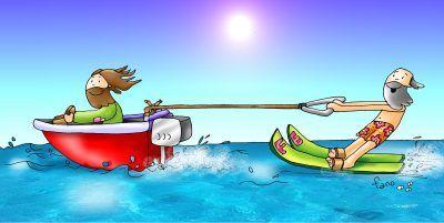 Dios y Jesús esquiando sobra agua.